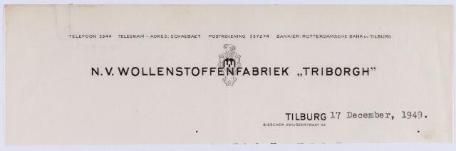 061266 - Briefhoofd. Textielindustrie. Briefhoofd van N.V. Wollenstoffenfabriek Triborgh aan de  Bisschop Zwijsenstraat 44.