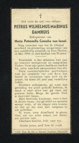 604373 - Bidprentje. Tweede Wereldoorlog. Oorlogsslachtoffers. Petrus Wilhelmus M. Damhuis. Geboren op 7 september 1904 te Tilburg en overleden op 16 mei 1944 in Den Helder. Hij is omgekomen bij het luchtoffensief door de geallieerde luchtmacht ter voorbereiding op de geplande landing in Normandië.