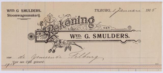 061176 - Briefhoofd. Nota van Wed. G. Smulders, stoomwagenmakerij voor de gemeente Tilburg