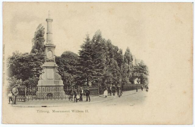 002520 - Gedenknaald voor koning Willem II, hoek Monumentstraat-Paleisstraat.