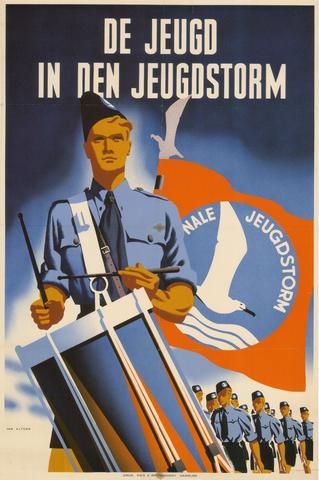 1726_038 - Affiche Tweede Wereldoorlog.   Propaganda affiche van de Nationale Jeugdstorm. De Jeugd in den Jeugdstroom. Deze Nederlandse jongerenbeweging was opgericht naar voorbeeld van de Duitse Hitlerjugend en was actief van 1934 tot 1945.   Afmeting: 60x90 cm, Drukkerij Mes En Bronkhorst Haarlem, 1943.  WOII. WO2.
