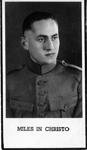830043 - Tweede Wereldoorlog. Oorlogsjaren. Bidprentje van Pieter Hubertus Gerardus Brinkman, geb. 23 maart 1919 te Tilburg, overleden 30 maart 1942 te Den Haag. Met opschrift: 'miles in christo'.