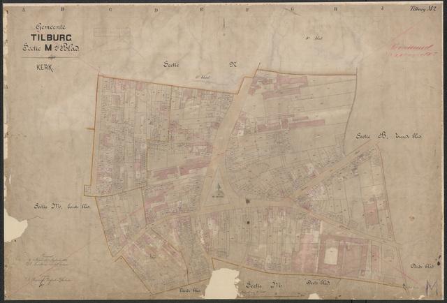 652616 - Kadasterkaart Tilburg, Sectie M (Kerk), blad 2. Schaal 1:1000. 1886.