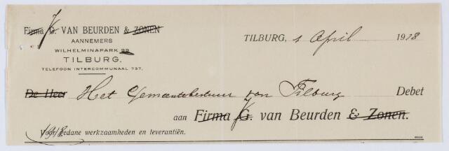 059615 - Briefhoofd. Nota van J van Beurden, Wilhelminapark, voor de gemeente Tilburg
