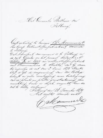 037932 - Textiel. Brief van wollenstoffenfabrikant Christiaan Mommers aan het Tilburgse gemeentebestuur waarin hij om een vergunning vraagt om een fabriek te mogen bouwen in de wijk Goirke