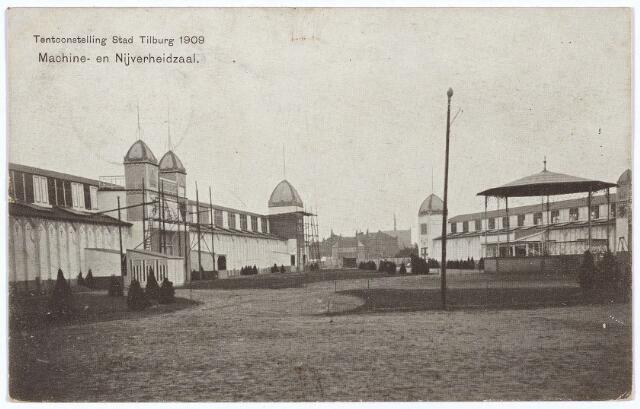 003277 - Tentoonstelling Stad Tilburg 1909. De machinezaal, een muziekkiosk en de nijverheidzaal.