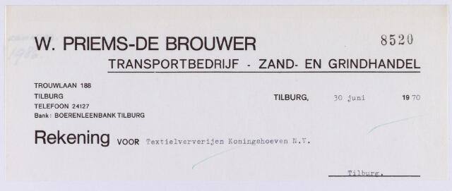 060926 - Briefhoofd. Nota van Transportbedrijf, Zand- en grindhandel W. Priems - de Brouwer, Trouwlaan 188 voor de Textielververijen Koningshoeven N.V. te Tilburg
