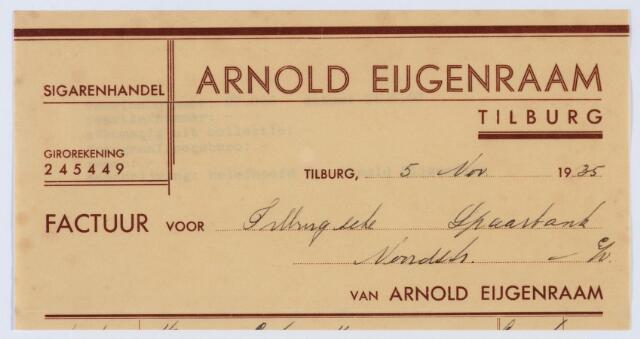 060087 - Briefhoofd. Nota van Arnold Eijgenraam, sigarenhandel, voor Tilburgse Spaarbank, Noordstraat