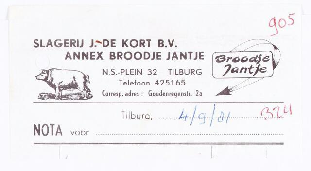 060516 - Briefhoofd. Briefhoofd van Slagerij J. de Kort B.V., annex broodje Jantje, NS-plein 32