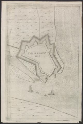 651007 - Plattegrond van de vesting Geertruidenberg . St Geertruidenberg en Bies Bos op de prent. 18e eeuw. Kopergravure. Nagenoeg  identiek aan inv. nr. 23.21 x 33 cm.