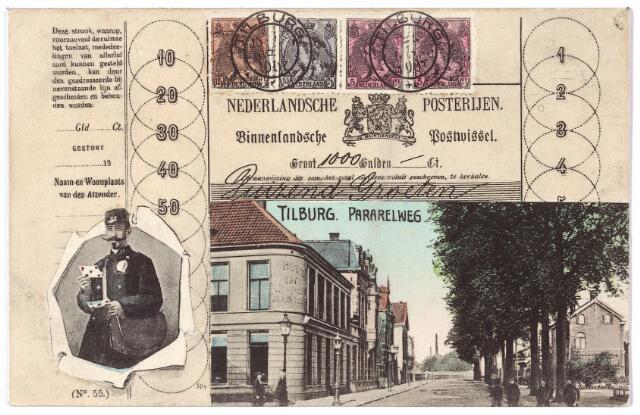 002187 - Spoorlaan richting Noordhoek. Links hotel Janssen op de hoek van de Stationstraat.