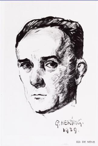 007426 - Tekening. Willem Lenglet (pseudoniem Ed de Nève) 1889-1961. Tekening door G. Hering in 1929.