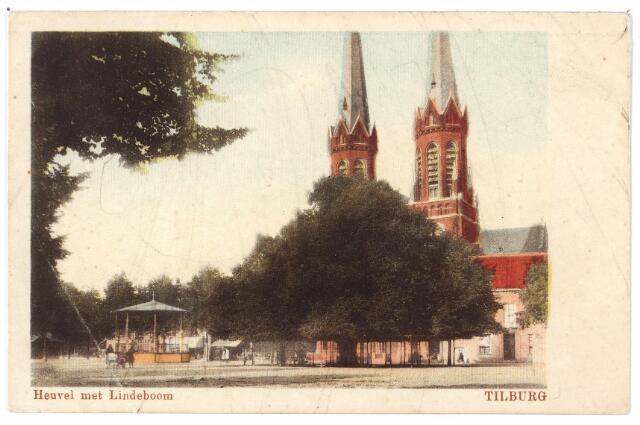 000927 - Heuvel met lindeboom, kiosk en kerk St. Jozef.