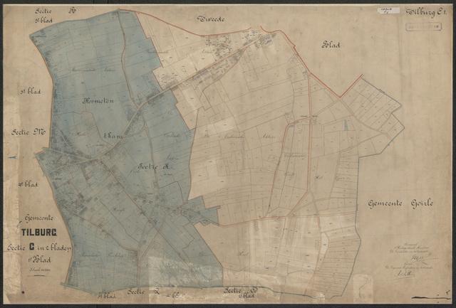 652584 - Kadasterkaart Tilburg, Sectie C (Oerle), blad 1. Schaal 1:2500. 1915.