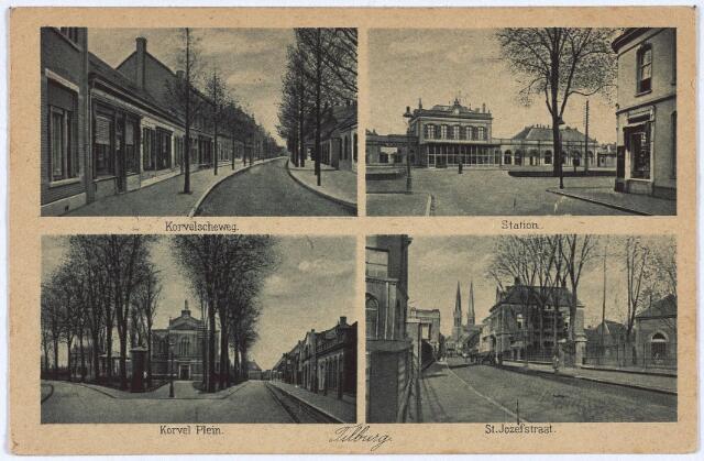 003143 - Bovenaan de Korvelseweg en het station gezien vanuit de Stationsstraat. Onder het Korvelplein met de voormalige parochiekerk en de St. Josephstraat.