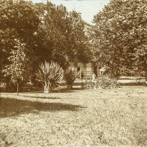 653553 - Villa Geldersch Hof, tuin. (Origineel is een stereofoto.)