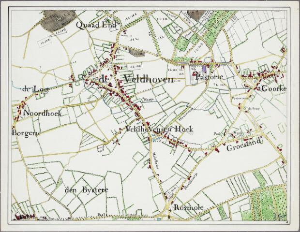 krnt_2 - Kaart. Detail van de manuscriptkaart van de heerlijkheid Tilburg en Goirle uit 1760 van de hand van Diederik Zijnen.  Nagetekend door L. Langeweg, ingekleurd door R. Peeters. Noordhoek, Veldhoven en Goirke.