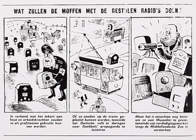012964 - Tweede Wereldoorlog. Als de Duitse bezetter op 13 mei 1943 verordonneert dat iederen zijn radio moet inleveren, duurt het niet lang of de eerste spotprenten verschijnen in illegale vlugschriften. De Vliegende Hollander stelt zich op 22 mei de vraag wat de Duitsers met de toestellen zullen  gaan doen