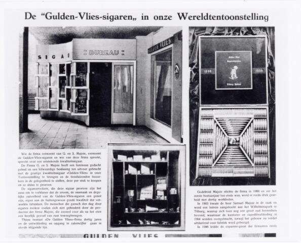 039506 - Wereldtentoonstelling voor Colonien, Scheepvaart en Vlaamse kunst in juni 1930 met een expositiestand van de firma Gulden Vlies sigarenfabriek v/h G. & S. Majoie