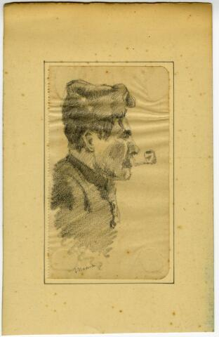 604099 - Tekening van Johannes Elsinga (1893-1969); Portret van een onbekende gemobiliseerde soldaat, getekend in de omgeving van Moergestel tijdens de mobilisatie van de Eerste Wereldoorlog. De Friese kunstenaar Johan Elsinga (1893-1969) was tijdens deze mobilisatie zelf als gemobiliseerd soldaat gelegerd in Moergestel. Moergestel en omgeving werden tussen 1914 en 1916 vastgelegd in potlood en aquarel.