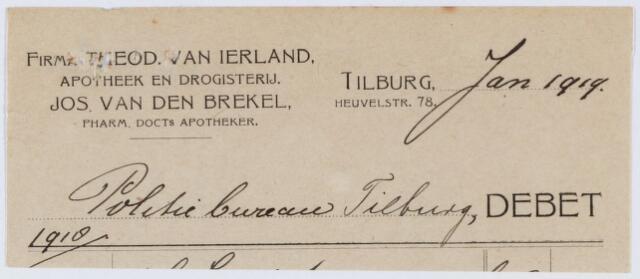 060341 - Briefhoofd. Nota van Theodorus van Ierland, Heuvelstraat 78 voor het politiebureau van Tilburg