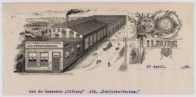 061337 - Briefhoofd. Nota van Gebr. Verspaandonk, Eerste Tilburgsche Electrische Pettenfabriek voor de gemeente Tilburg