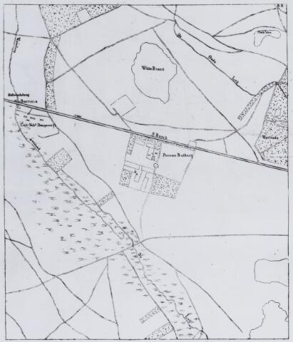 049190 - Kaart. Westelijk deel van Tilburg (Dongewijk) met de weg van Breda naar 's-Hertogenbosch, Oude en Nieuwe Leij, tolhuis, pannenbakkerij, het ven de Witte Brand en de Warande.