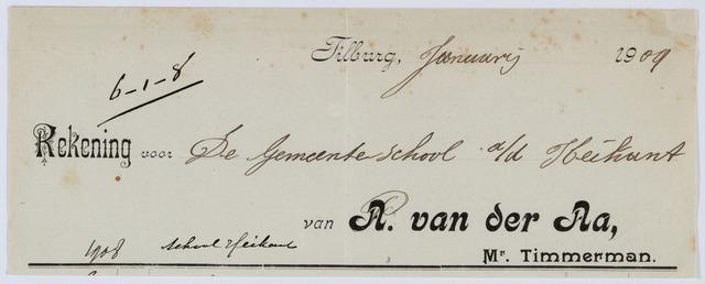 059463 - Briefhoofd. Rekening van A. van der Aa, meester-timmerman voor de gemeenteschool van de Heikant.
