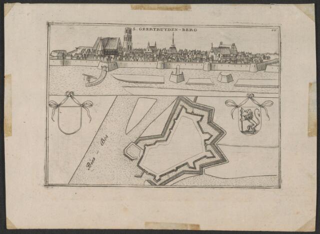651001 - Gezicht op Geertruidenberg vanuit het Noord-oosten en daaronder Plattegrond van de vesting. S. Geertruydenberg In rechterbovenhoek 48 naast de plattegrond links een blanco wapenschild en rechts een wapenschild met stadswapen. 18e eeuw. Kopergravure. Gezicht naar gravure uit Meisner Prenten 22. Zie ook inv. nrs. 9 en 21. Plattegrond naar gravure van Blaeu ca 1650 en inv. nrs. 4 en 5,  echter zonder gebouwen vanouds aanwezig. 12,5 x 18 cm.