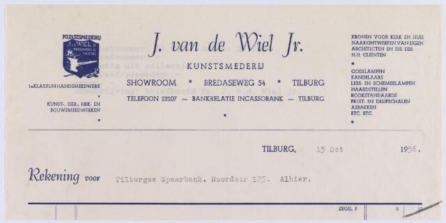 061424 - Briefhoofd. Nota van  J. van de Wiel Jr.,  Kunstsmederij, Bredaseweg 54 voor Tilburgse Spaarbank, Noordstraat 125 te Tilburg