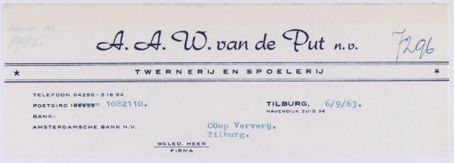 060928 - Briefhoofd. Nota van A.A.W. van de Put N.V., twernerij en spoelerij, Havendijk zuid 36 voor Coöp. Ververijen te Tilburg