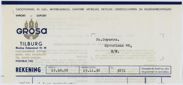 060214 - Briefhoofd. Nota van Grosa, Bisschop Zwijsenstraat 18-20 voor Fa. Goyaers, Spoorlaan 40