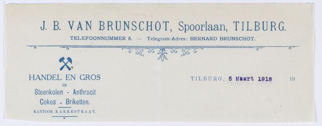 059794 - Briefhoofd. Briefhoofd van Handel in Duitsche en Belgische Steenkolen J. B. van Brunschot.