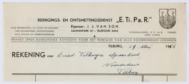 """060070 - Briefhoofd. Nota van Reinings- en ontsmettingsdienst """"E. Ti. Pa. R. """", eigenaar J.J. van Son, Julianapark 67, voor Tilburgse Spaarbank, Noordstraat"""