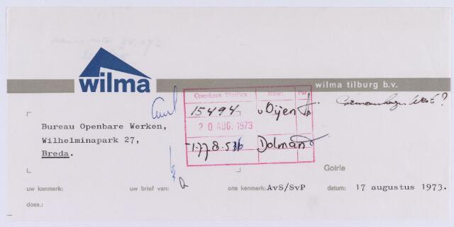 061430 - Briefhoofd. Briefhoofd van Wilma Tilburg B.V.