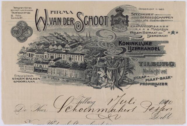 061059 - Briefhoofd. Nota van Firma W. van der Schoot, Koninklijke Ijzerhandel voor Schoenmakers-Pessers