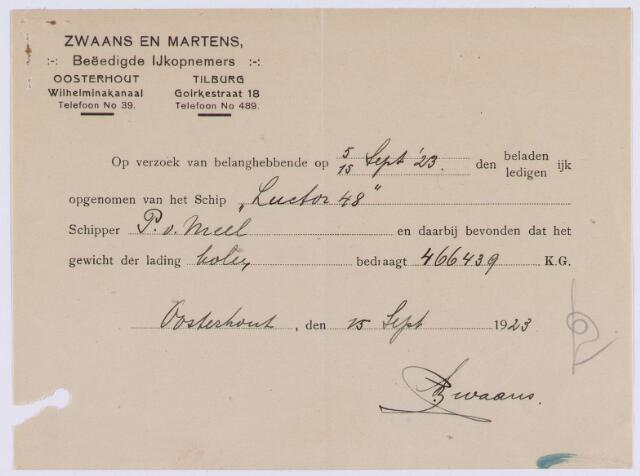 061466 - Briefhoofd. opname ijk door Zwaans en Martens, beëdigde ijkopnemers, Goirkestraat 18 voor schipper P van Meel