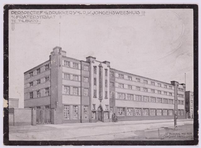 037386 - Ontwerptekening van architect Constant Panis van de drukkerij van het R.K. Jongensweeshuis aan de Fraterstraat.