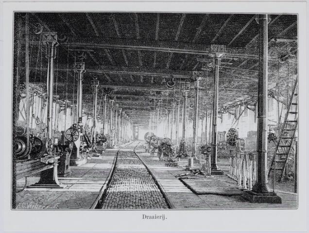 036924 - Spoorwegen, Centrale Werkplaats, Atelier, NS: In 1887 was een journalist H.N. Neideck op bezoek in de werkplaats. Bij zijn artikel werden enkele tekeningen geplaatst gemaakt door A.C.Verhees. Hier de draaierij.