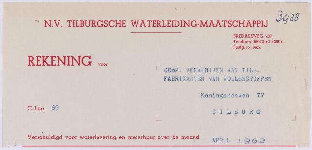 061252 - Briefhoofd. Nota van Tilburgsche Waterleiding-maatschappij, Bredaseweg voor de Ververijen van Tilburgse fabrikanten van wollenstoffen, Koningshoeven 77