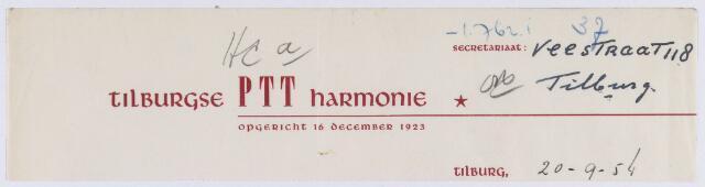 061509 - Briefhoofd. Verenigingen. Briefhoofd van Tilburgse PTT Harmonie, Veestraat 118