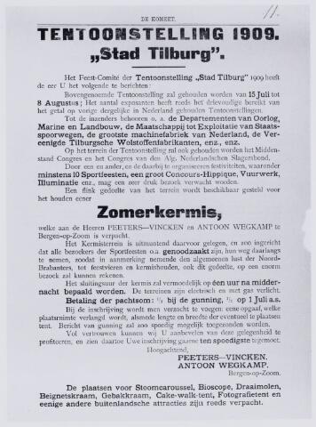 103823 - Kermis. Affiche van de tentoonstelling Stad Tilburg 1909 gehouden van 15 juli - 8 augustus 1909  Handel Nijverheid en Kunst. Op het terrein werd een zomerkermis gehouden, die aan Peeters - Vincken en Antoon Wegkamp uit Bergen op Zoom is verpacht.
