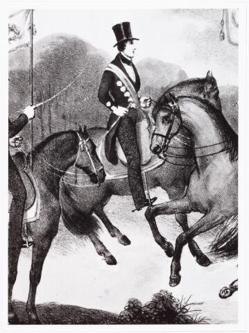 008398 - Litho. Lid van de Tilburgse erewacht, die op 29 april 1841 optrad bij de feestelijke intocht van koning Willem II.