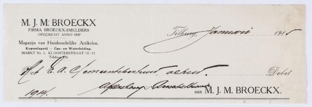 059758 - Briefhoofd. Nota van M.F.M. Broeckx (firma Broeckx-Smulders), specialiteit in grondboringen en artesische putten, Kloosterstraat 10-12 voor de gemeente Tilburg