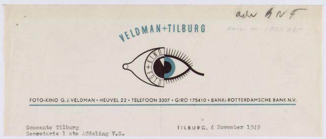061285 - Briefhoofd. Nota van Veldman+Tilburg, foto-kino G.J. Veldman, Heuvel 22 voor de gemeente Tilburg