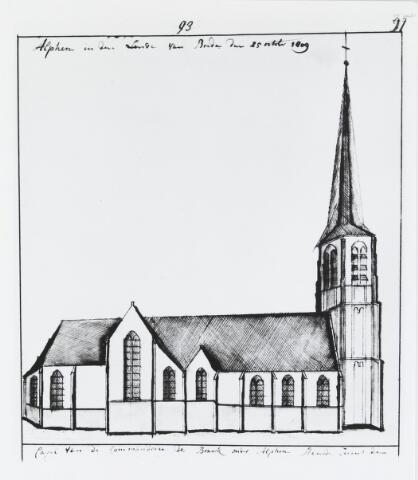 055142 - Tekening. R.K. Sint Janskapel van de Commanderij Ter Braeke onder Alphen.
