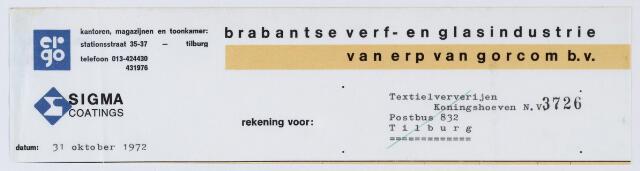 060054 - Briefhoofd. Nota van Brabantse verf- en glasindustrie Van Erp Van Gorcom B.V., Stationsstraat 35-37, voor Textielververijen Koningshoeven N.V., Koningshoevenweg 77