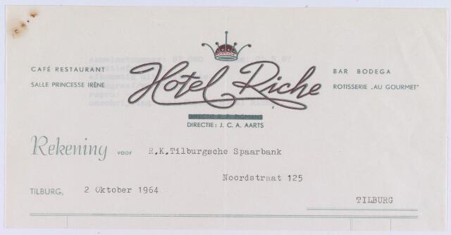 060974 - Briefhoofd. Nota van Caf'é-Restaurant Hotel  Riche, Heuvelring voor R.K. Tilburgsche Spaarbank, Noordstraat 125