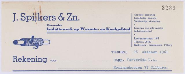 061162 - Briefhoofd. Nota van J. Spijkers & Zn, uitvoerder van isolatiewerk op warmte- en koelgebied, Lovensestraat 148 voor Coöp. Ververijen U.A., Koningshoeven 77