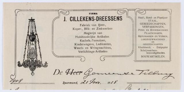 059846 - Briefhoofd. Nota van  Firma J. Cillekens-Dreessens, Fabriek van Ijzer-, koper-, blik- en zinkwerken voor de gemeente Tilburg